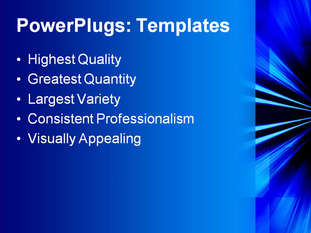 PPT Template - blue, rays, light - Text Slide