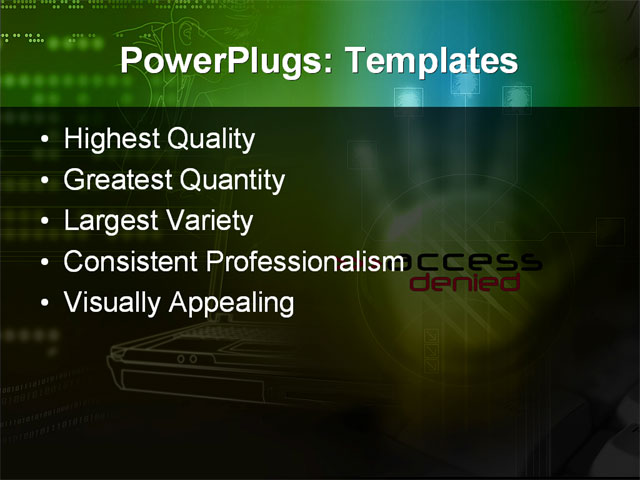 PPT Template - access, alarm, antivirus - Text Slide