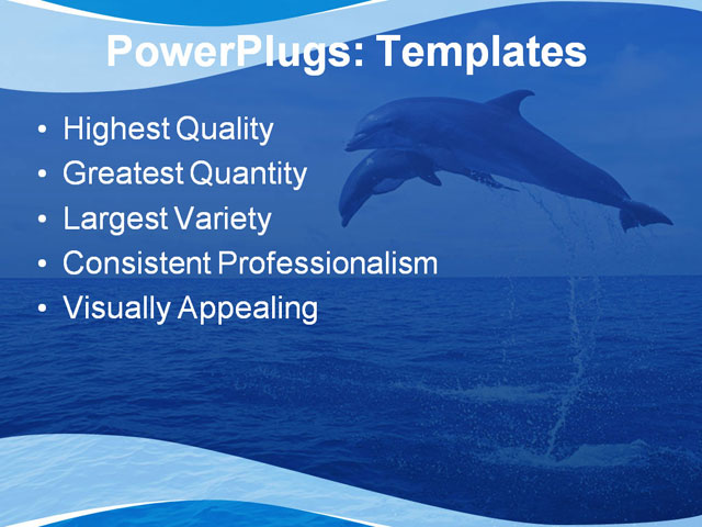 PPT Template - animal, blue, dolphin - Text Slide