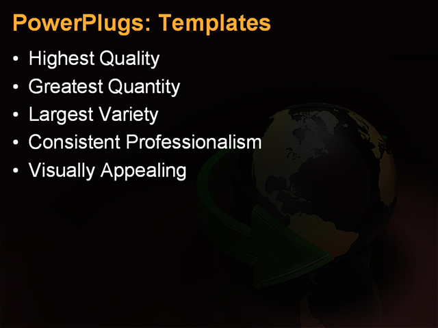 PPT Template - globe, symbols, bright - Text Slide