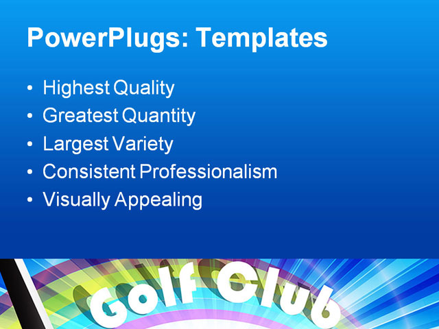 key club powerpoint template - powerpoint template golf club putter hitting golf ball