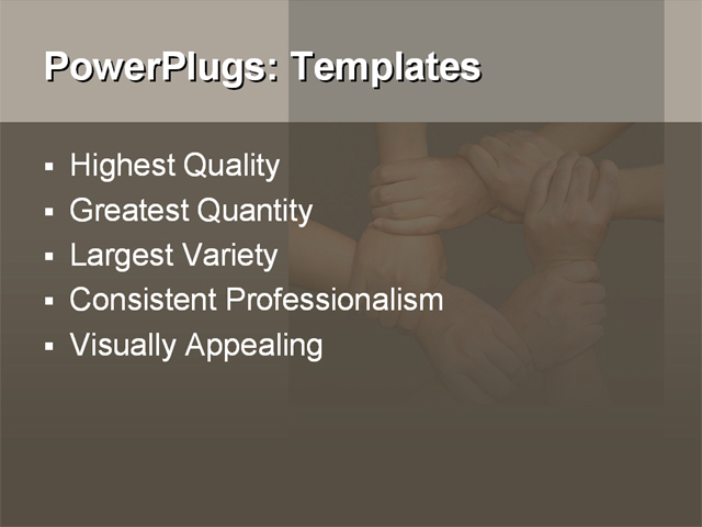 PPT Template - hands, join hands, together team - Text Slide