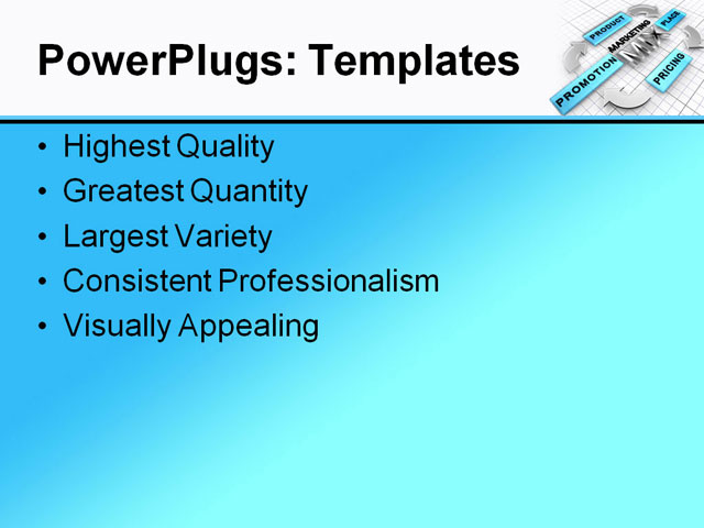 PPT Template - marketing mix, 4ps, advertising - Text Slide
